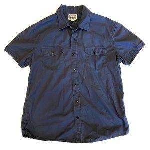 Converse button shirt collar blue snaps up pockets